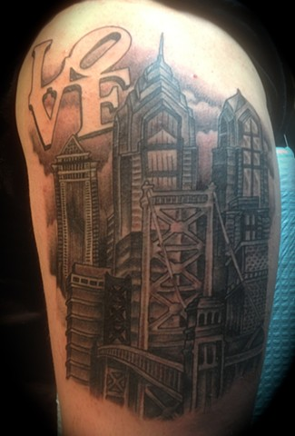 Providence, Prov, RI, Rhode Island, New England, Mass, Art Freek Tattoo, Good Tattoos grey work black and gray Color old school portrait clean philly love park PA land of kings
