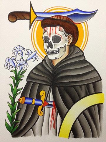 prov Rhode Island RI Providence Tattoo Art Freek Water color painting New England Dagger head Icon Saint