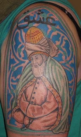 holy man Rumi tattoo steven williamson tattoo artist providence rhode island (ri) tattoo Rhode Island Providence