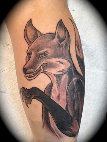 Providence, Prov, RI, Rhode Island, New England, Mass, Art Freek Tattoo, Good Tattoos grey work black and gray Color old school portrait clean fox