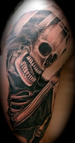 Grim reaper on arm tattoo steven williamson tattoo artist providence rhode island (ri) tattoo Rhode Island Providence