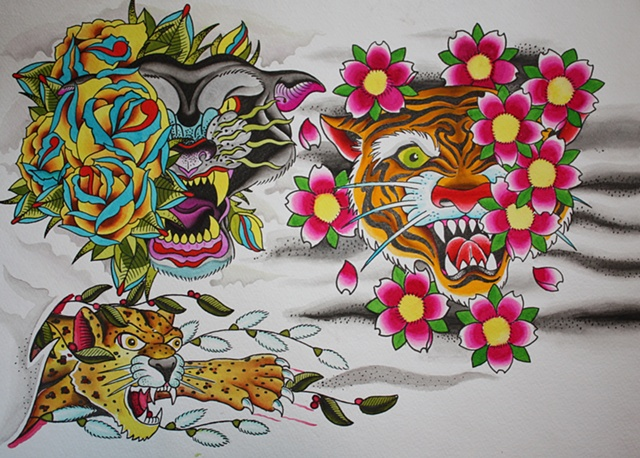 cats cat feline tiger panther leopard head flower flash sheet water color tattoo