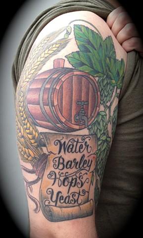 Providence, Prov, RI, Rhode Island, New England, Mass, Art Freek Tattoo, Good Tattoos beer yeast hopes barley brewing