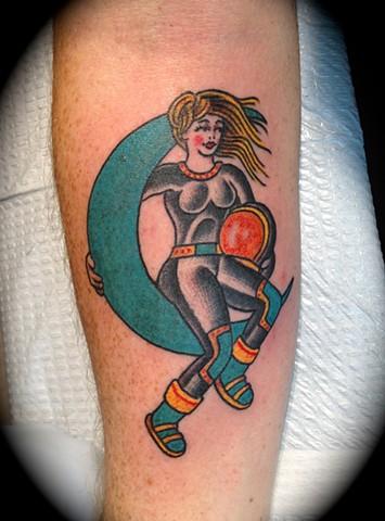 Providence, Prov, RI, Rhode Island, New England, Mass, Art Freek Tattoo, Good Tattoos astronaut girl old school