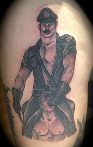 Providence, Prov, RI, Rhode Island, New England, Mass, Art Freek Tattoo, Good Tattoos grey work black and gray Color old school portrait clean gay sex leather daddy sm tom of finland