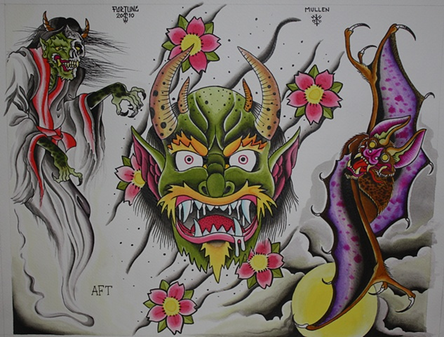 jap japanese demon head bat ghost water color watercolor flash sheet tattoo