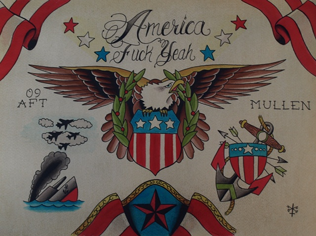 Providence Rhode Island RI Tattoo flash painting water color america patriotic
