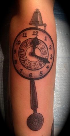 Providence, Prov, RI, Rhode Island, New England, Mass, Art Freek Tattoo, Good Tattoos grey work black and gray Color old school portrait clean twilight zone clock 5th dimension
