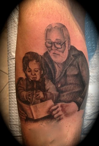 Providence, Prov, RI, Rhode Island, New England, Mass, Art Freek Tattoo, Good Tattoos grey work black and gray Color old school portrait clean portrait grandfather grandpa grandson family