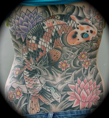 koi lotus jap style japanese koi fish backpiece back piece tattoo Providence Rhode Island RI