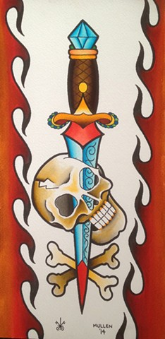 prov Rhode Island RI Providence Tattoo Art Freek Water color painting New England Dagger Skull bones