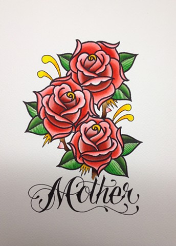 prov Rhode Island RI Providence Tattoo Art Freek Water color painting New England roses mother mothers day
