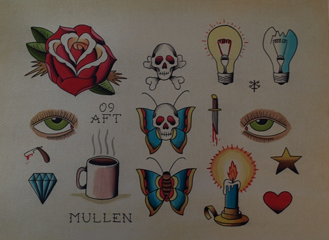 Providence Rhode Island RI Tattoo flash painting water color