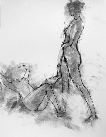 2 nudes,standing and recumbent