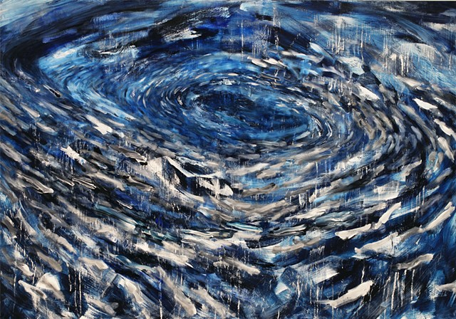 """painting of sardine shoal, inspired by """"The Purse Seine"""" by Robinson Jeffers"""