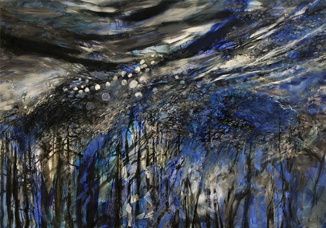 painting of drowned forests due to global warming, moon jellyfish thriving in warming world