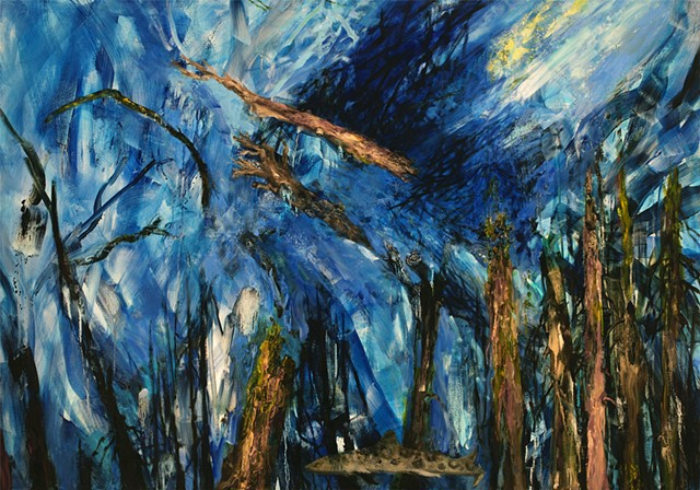 painting of drowned forests, global warming, melting ice cap consequences