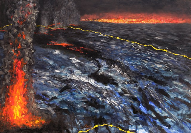 painting inspired by The Purse Seine poem by Robinson Jeffers,oil spill, ecological disaster