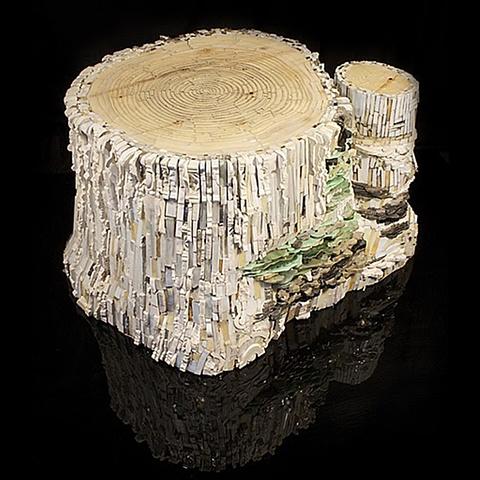 Aspen Stump Mosaic Sculpture featured in the International Hearald Tribune and Ravenna Mosaico