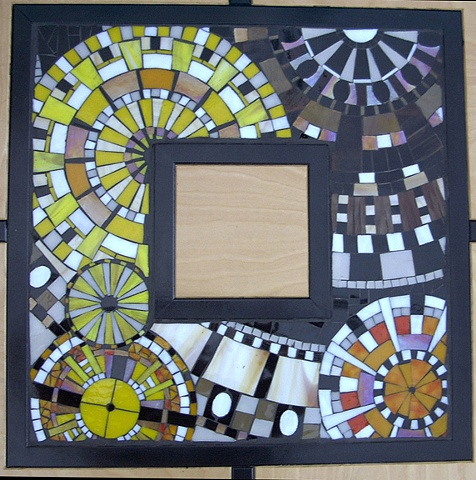 Glass mosaic table inlay by Kate Jessup