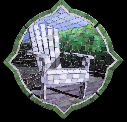 """Adirondack"" Glass mosaic patio inlay by Kate Jessup"