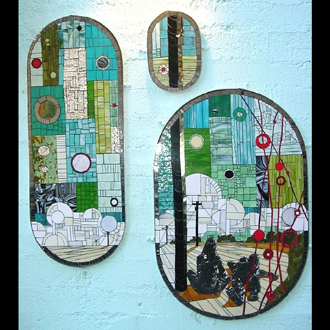 """Alley Triptych"" Mosaic art in Fremont, Seattle, Washington by Kate Jessup"