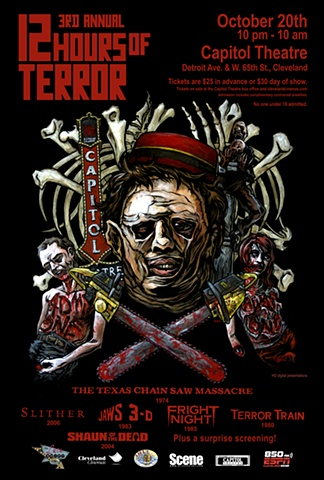 Cleveland Cinemas 12 Hours of Terror Leatherface art CHOD