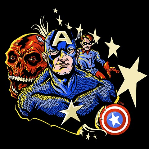 Captain America Bucky Red Skull art CHOD