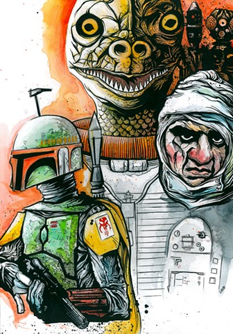 Star Wars Bounty Hunters Chod Print Metro Orange Art Boba Fett Bossk Dengar IG-88 4-LOM art