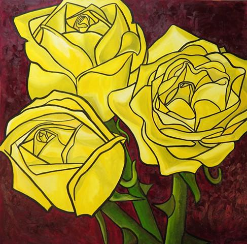 Yellow Eulogy Of Rosa Hemisphaerica