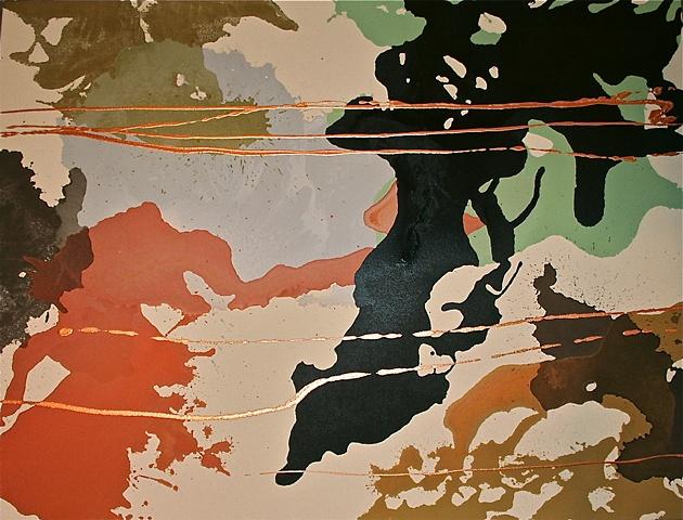 dark brown, olive, terra cotta, sea green, with metallic copper lines