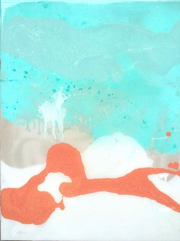 Light turquoise, peach, and white painting