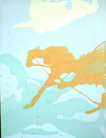 light blue, orange, yellow painting