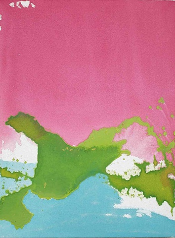 Bright pink, lime green, and turquoise painting