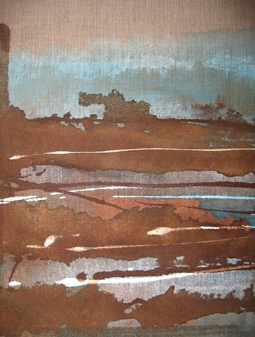 Muted browns and blues on raw linen