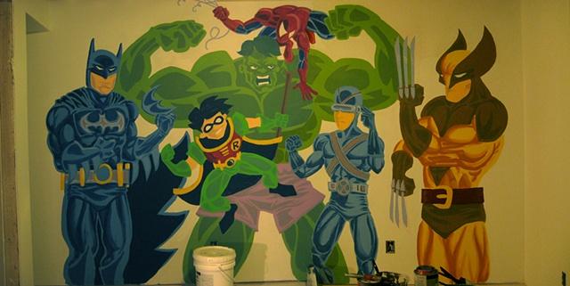 Mural of batman robin hulk spiderman wolverine x-men for kids room