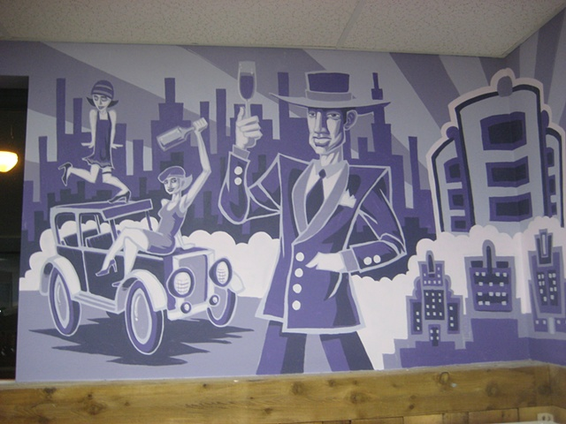Mural Purple Flappers gangsters wine city ford