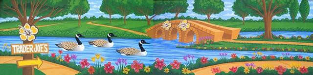 Mural geese flowers river bridge park trees