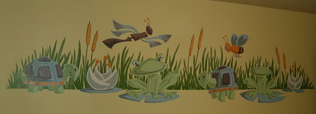 A turtle dragonfly and a frog in a swamp for a kids room mural