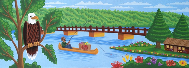Eagle boat Mural river fishing bridge trees flowers