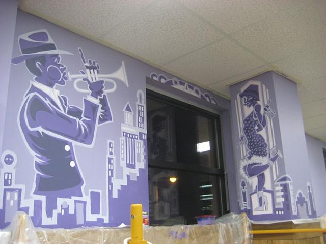 Trumpet Mural city purple 20's probation dress girl dancing flapper