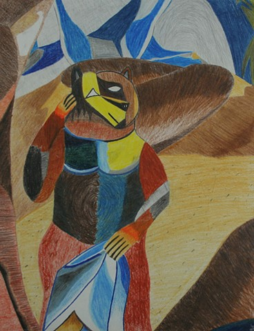 Cubist Bear in the Desert