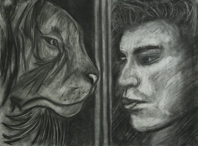 Self Portrait as a Reflection of a Lion