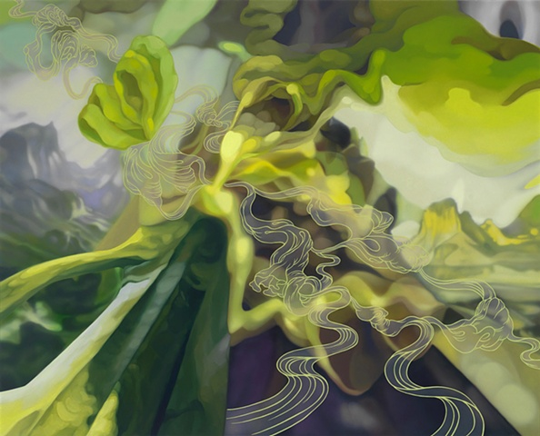 painting surreal landscape altered reality yellow-green clouds by Cristi Rinklin
