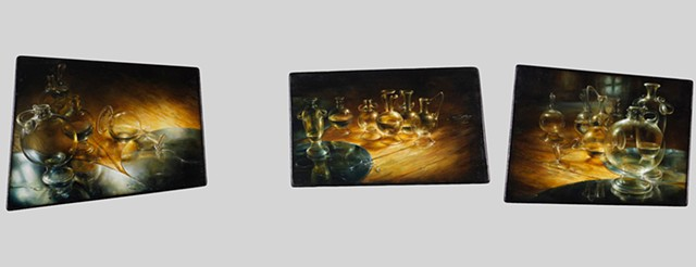 miniature oil on panel, triptych