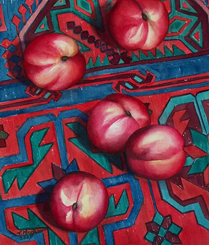 Waterolor painting of bright red nectarines scattered across an Azeri carpet.