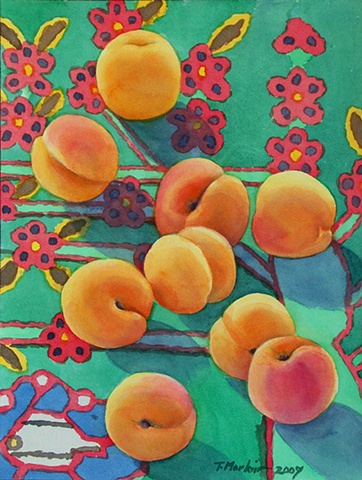Watercolor painting of apricots scattered across a multicolored Azeri rug