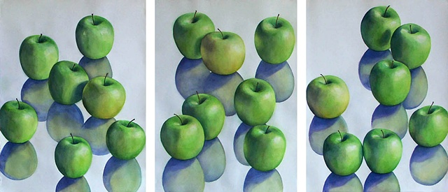 three watercolor paintings showing green apples in a series of interactions