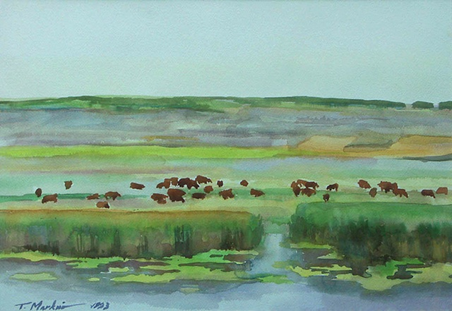 watercolor painting of cattle grazing on the steppes along the Inhul River in central Ukraine
