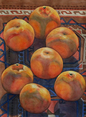 Large watercolor painting of tangerines bathed in sunlight on a Turkmeni rug